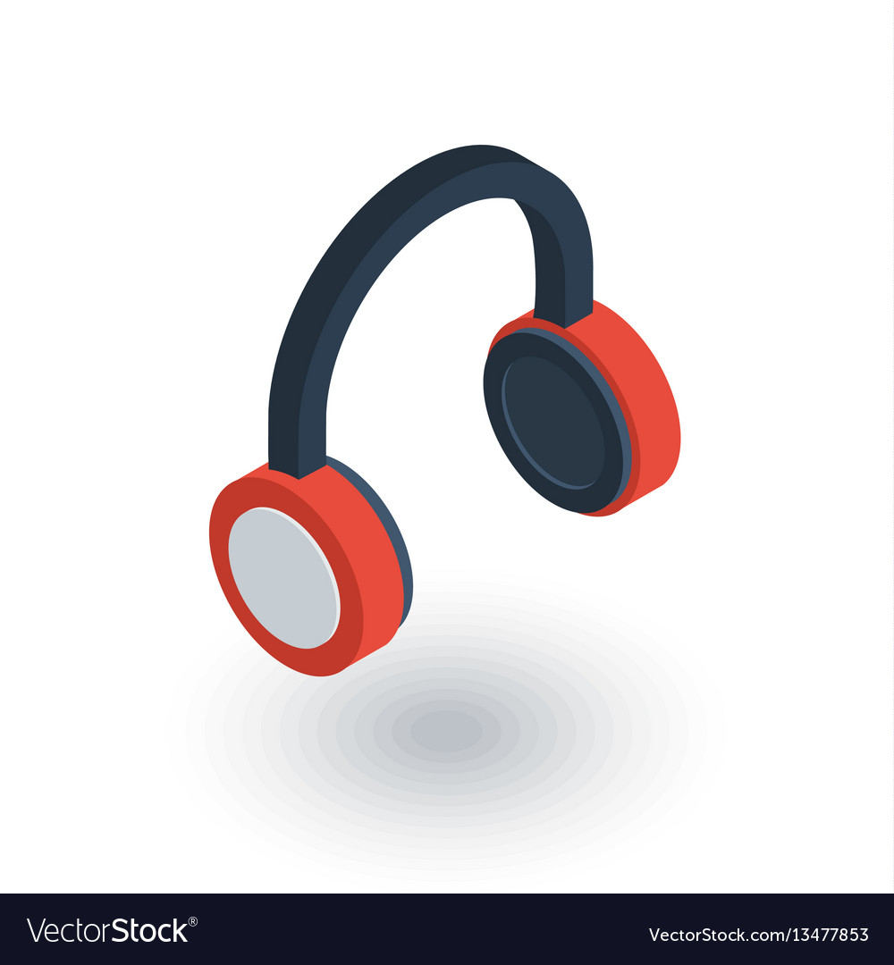 Music headphones isometric flat icon 3d vector