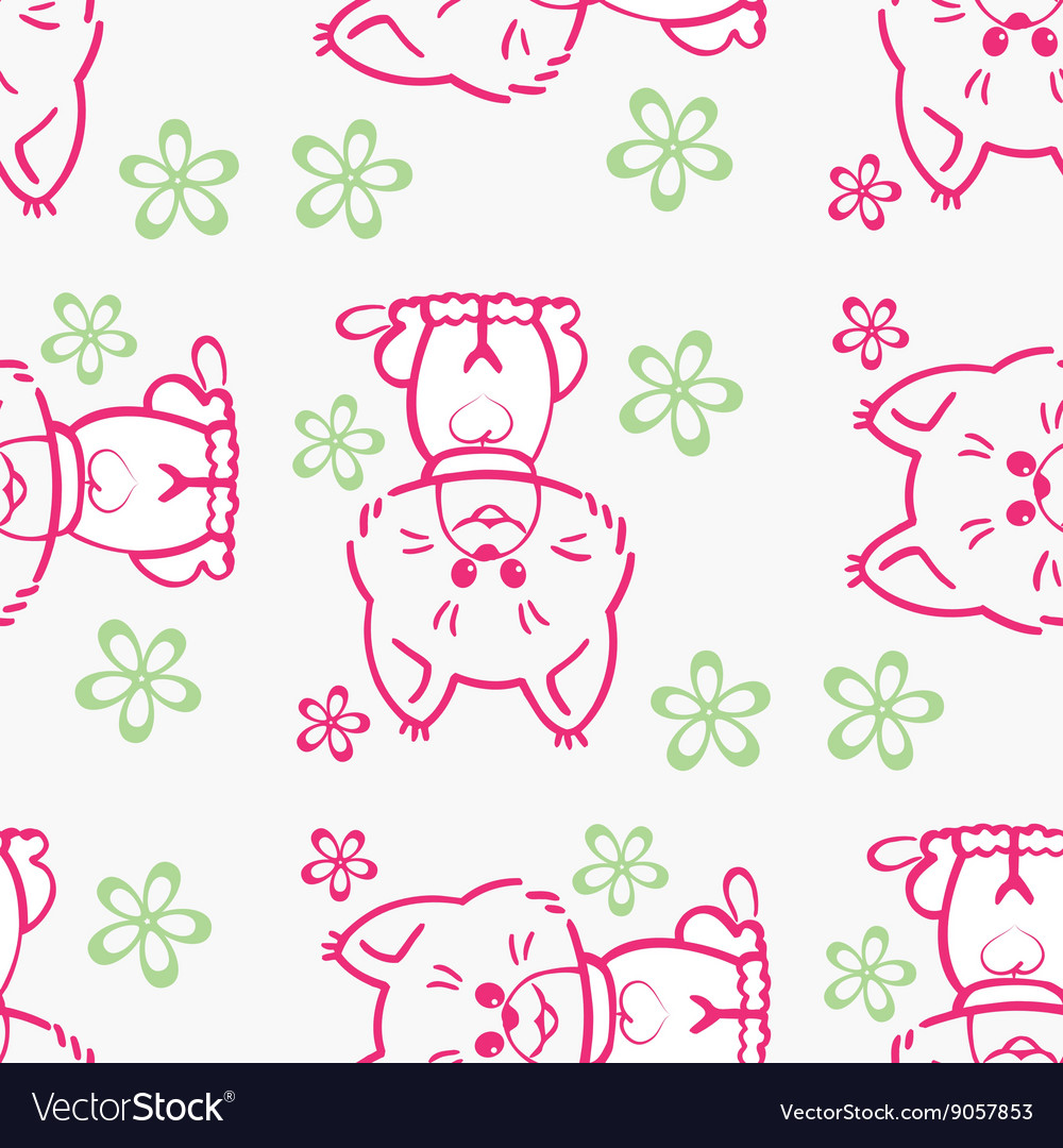 Seamless pattern cute cats vector
