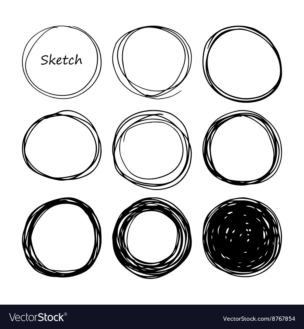 Hand drawn scribble set of doodle circles vector