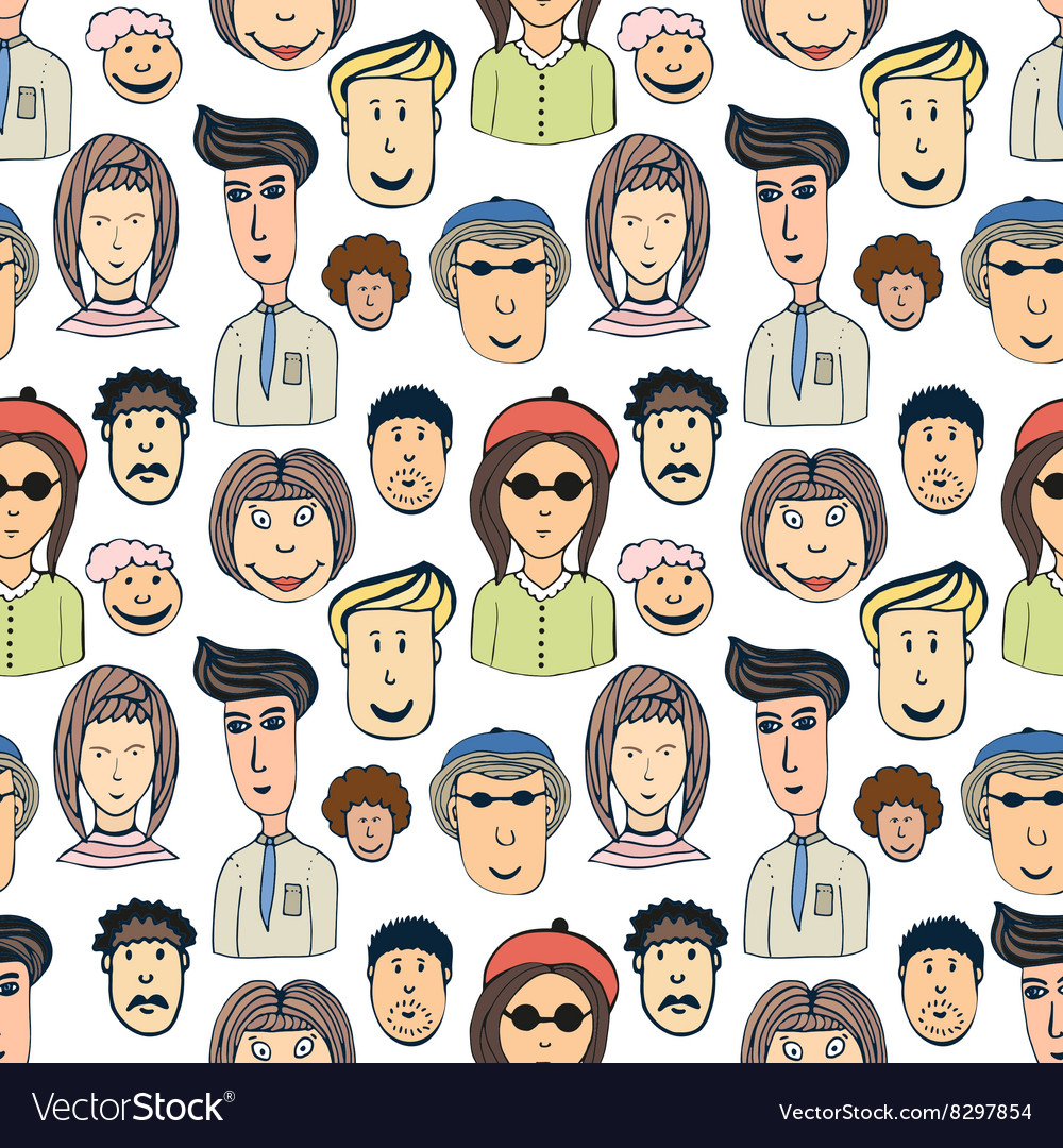 Hand drawn seamless pattern with crowd of vector