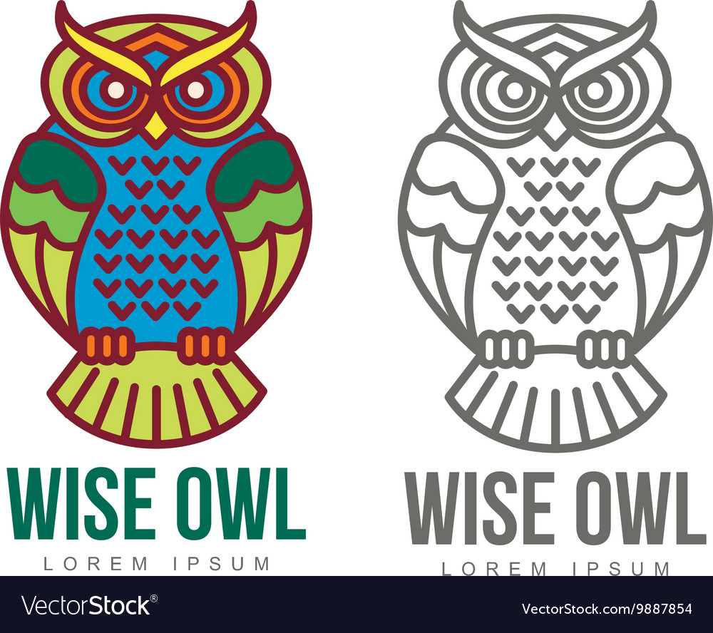 Set of colorful owl logo templates vector