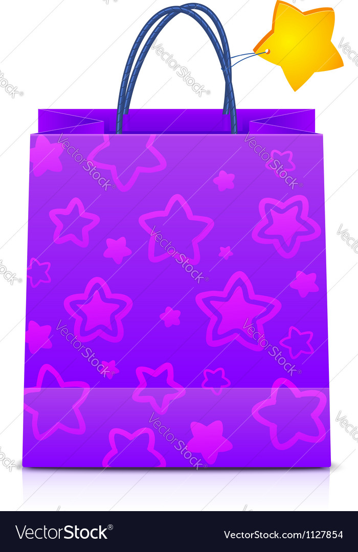 Violet gift paper bag with stars pattern vector