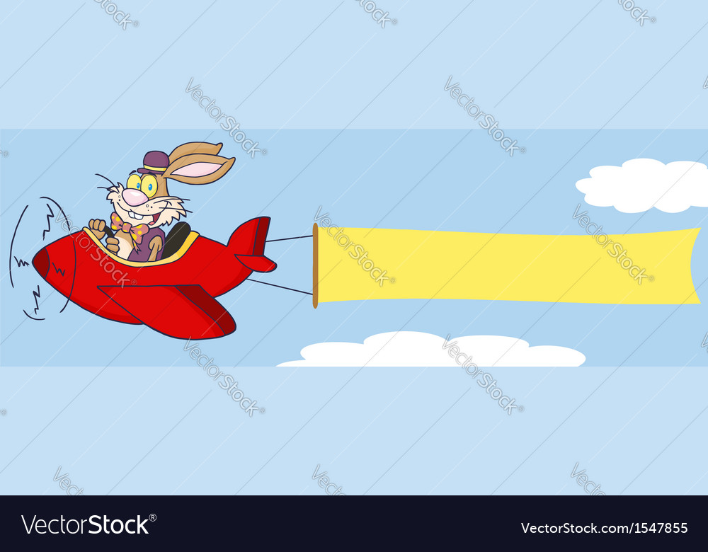 Bunny flying a plane with banner vector