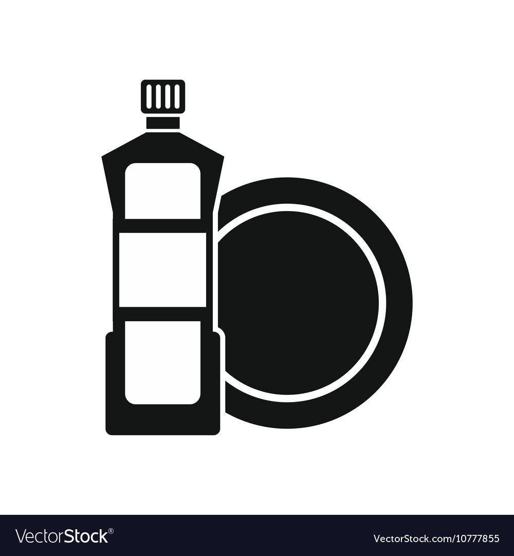 Dishwashing liquid detergent and dish icon vector