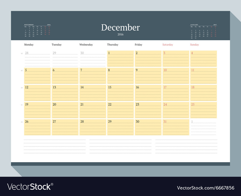 December 2016 monthly calendar planner for 2016 vector