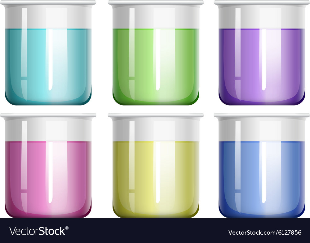 Liquid mixture in glass beaker vector