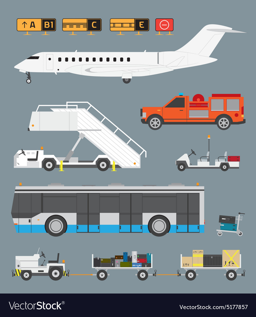 Airport set with baggage cart vector