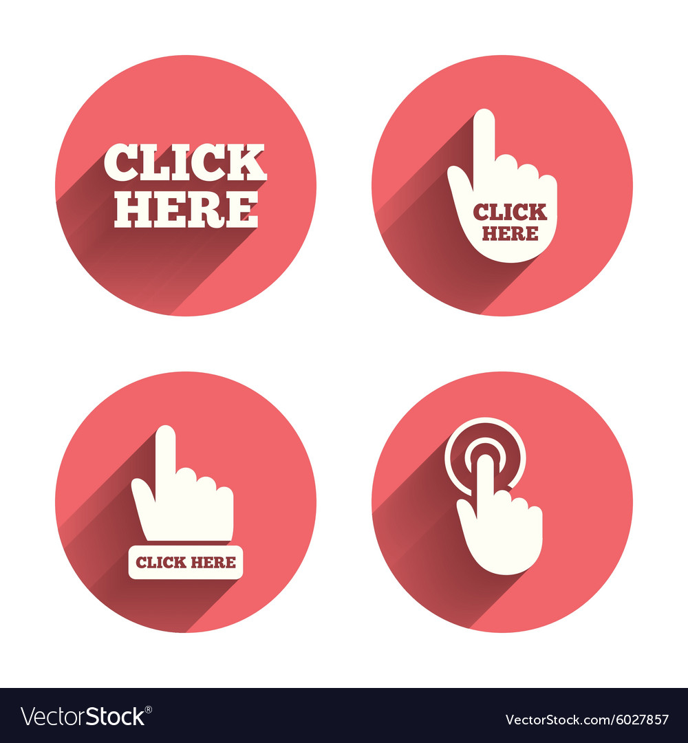 Click here signs hand press icons vector