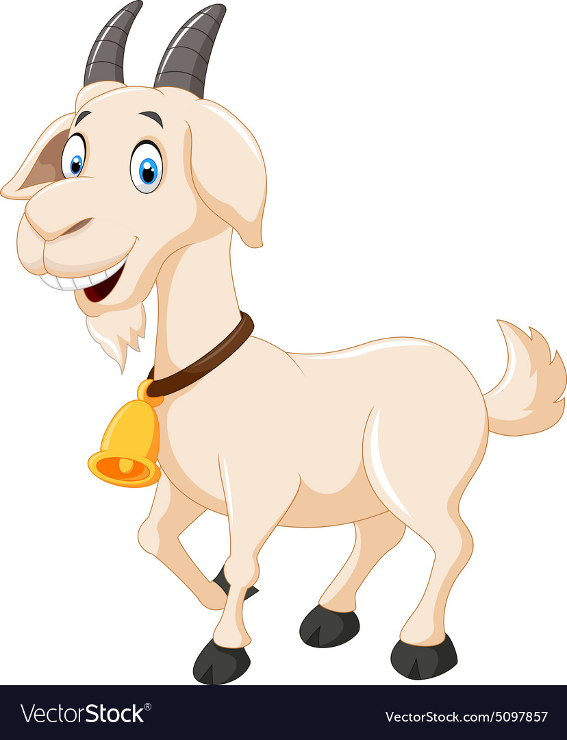 Cute cartoon goat vector