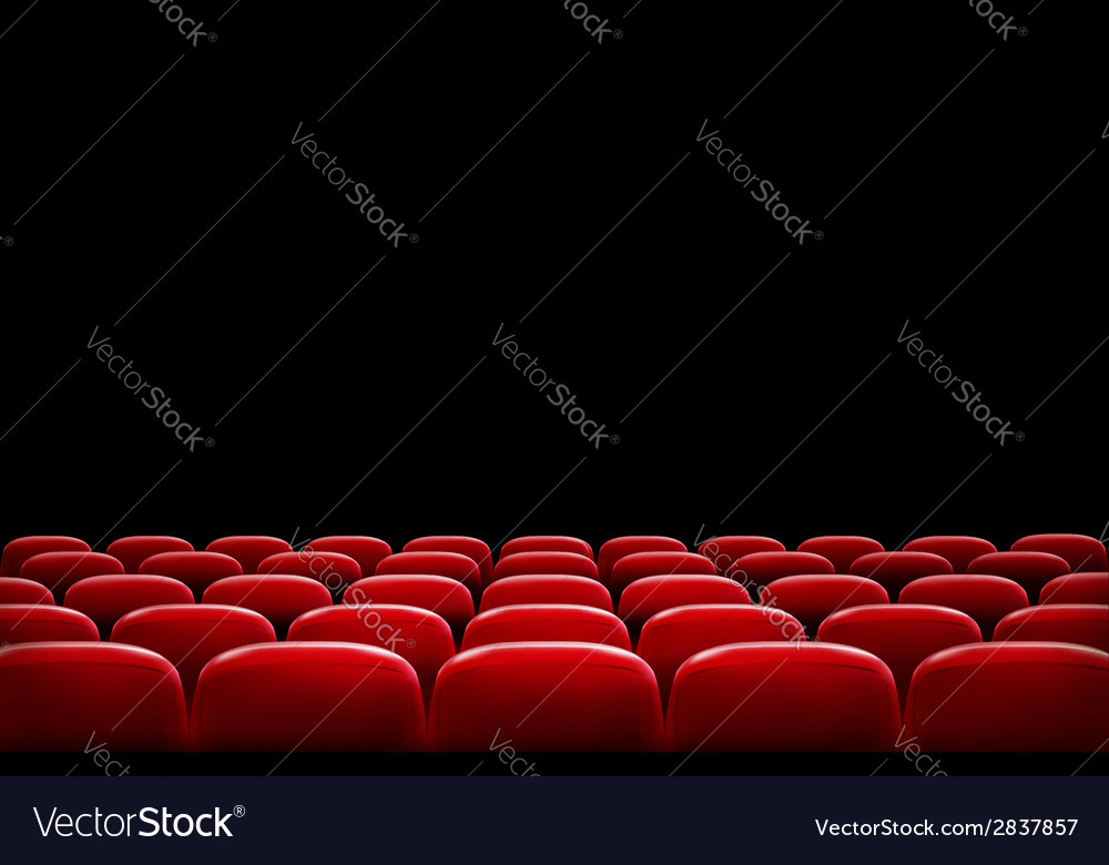 Rows of red cinema or theater seats in front of vector