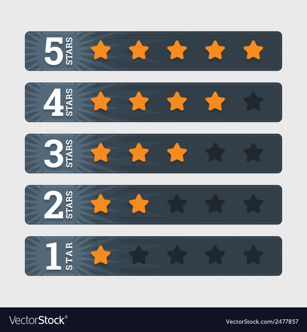 Star rating signs in flat style with numbers vector