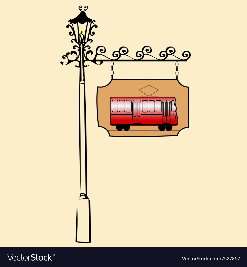 Street sign retro tram vector