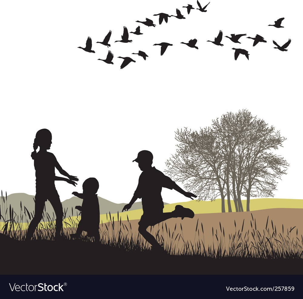 Children in the autumn country vector