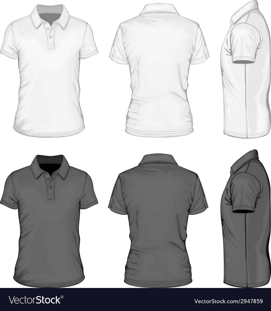 Mens short sleeve poloshirt design templates vector