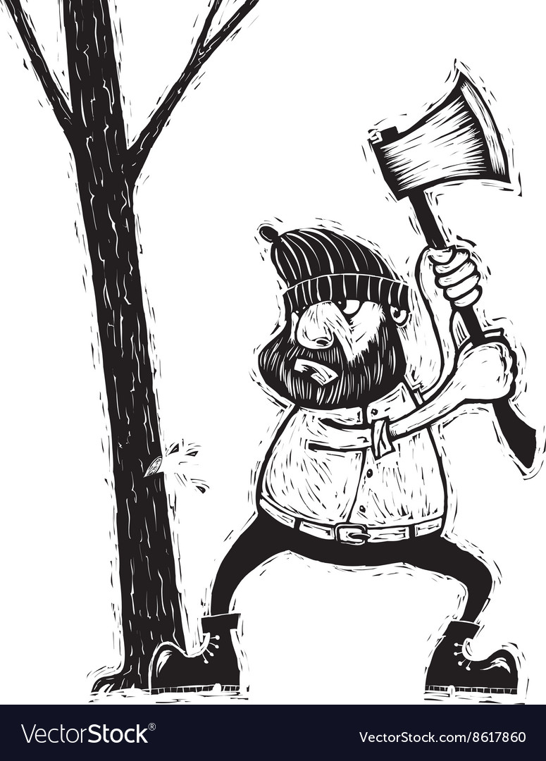Lumberjack with ax vector