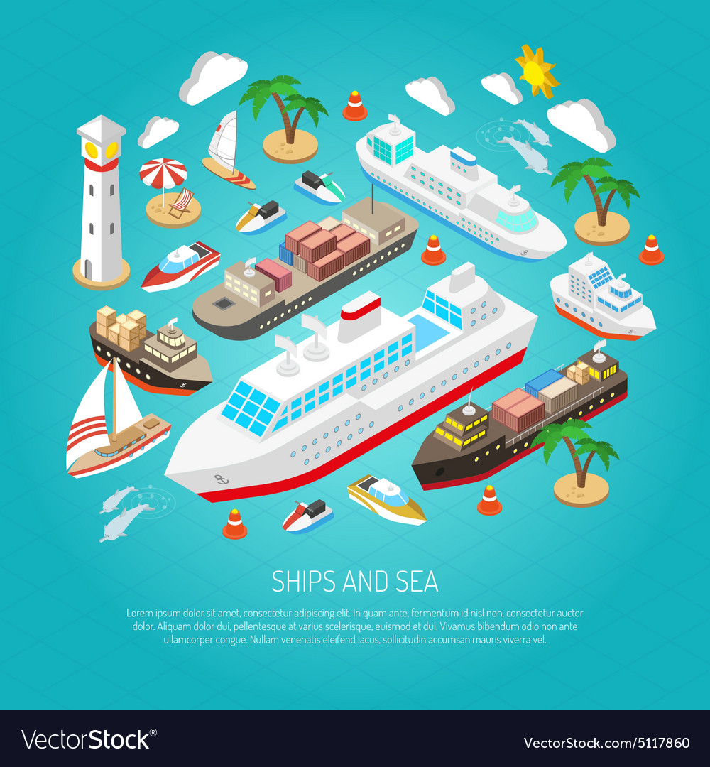 Sea and ships concept vector