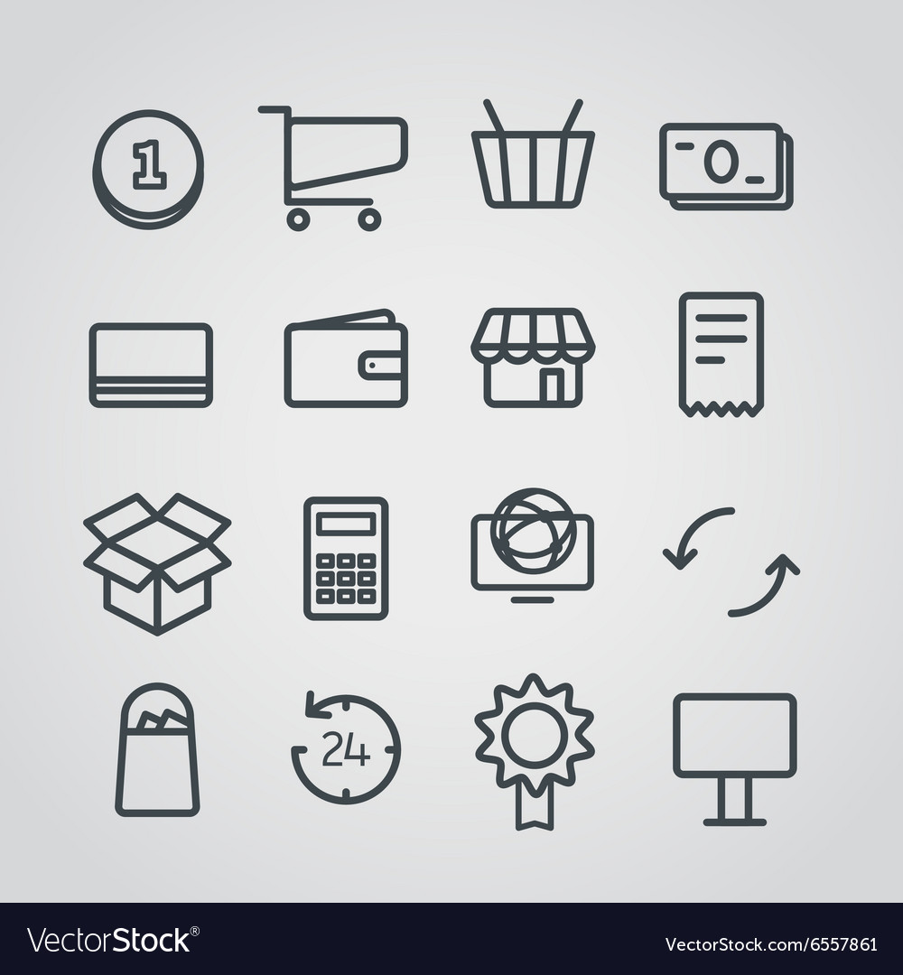 Different slyle of shopping icons collect vector