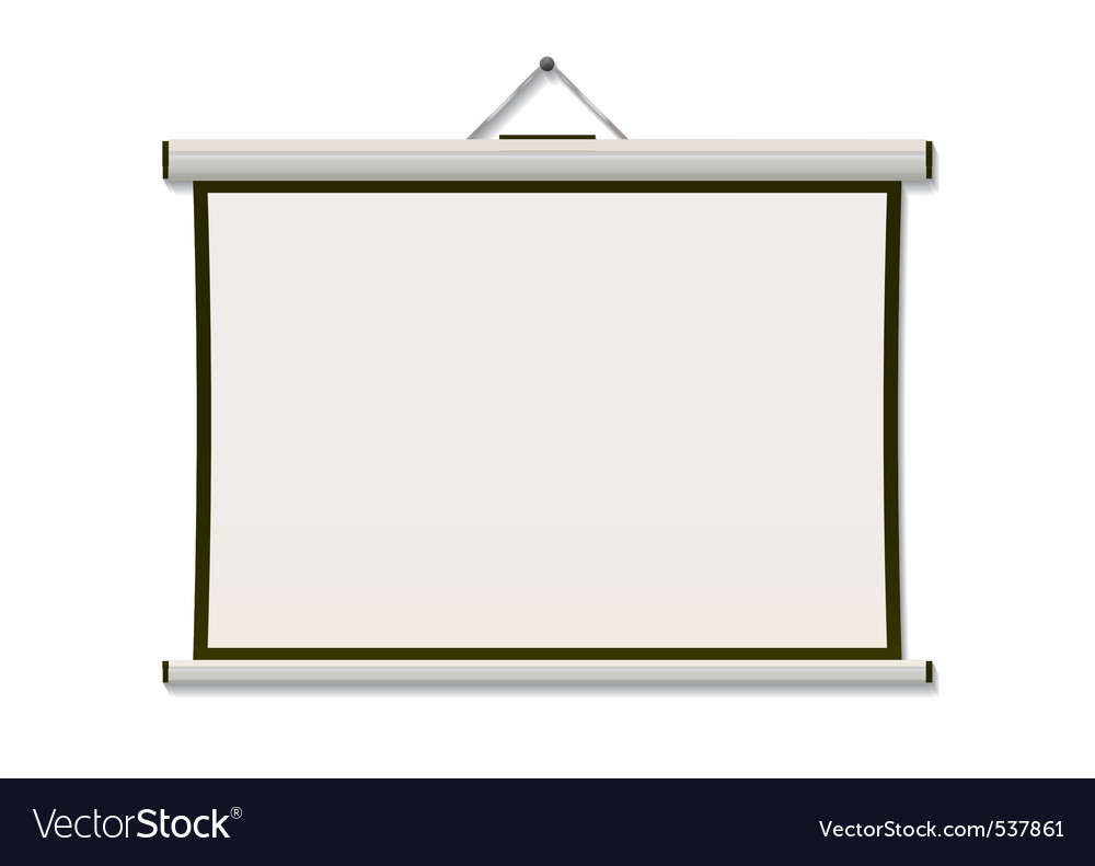 White projection screen hanging from wall with cop vector