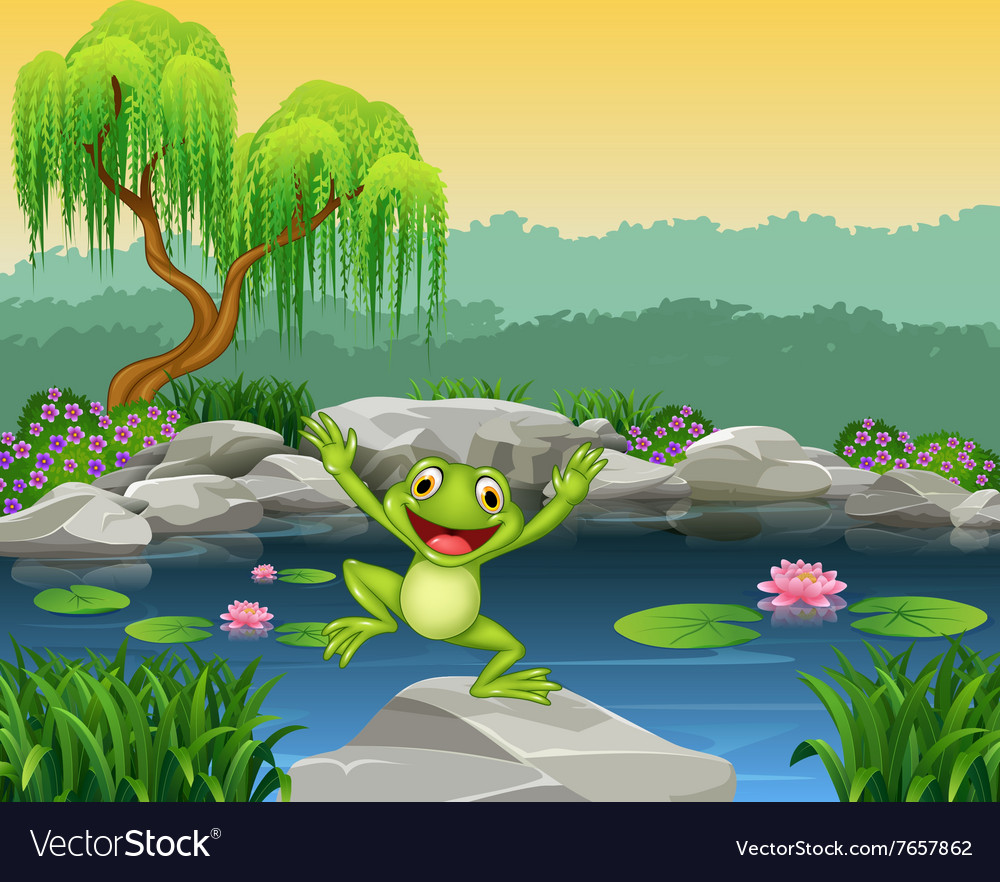 Cartoon happy frog jumping on the rock vector