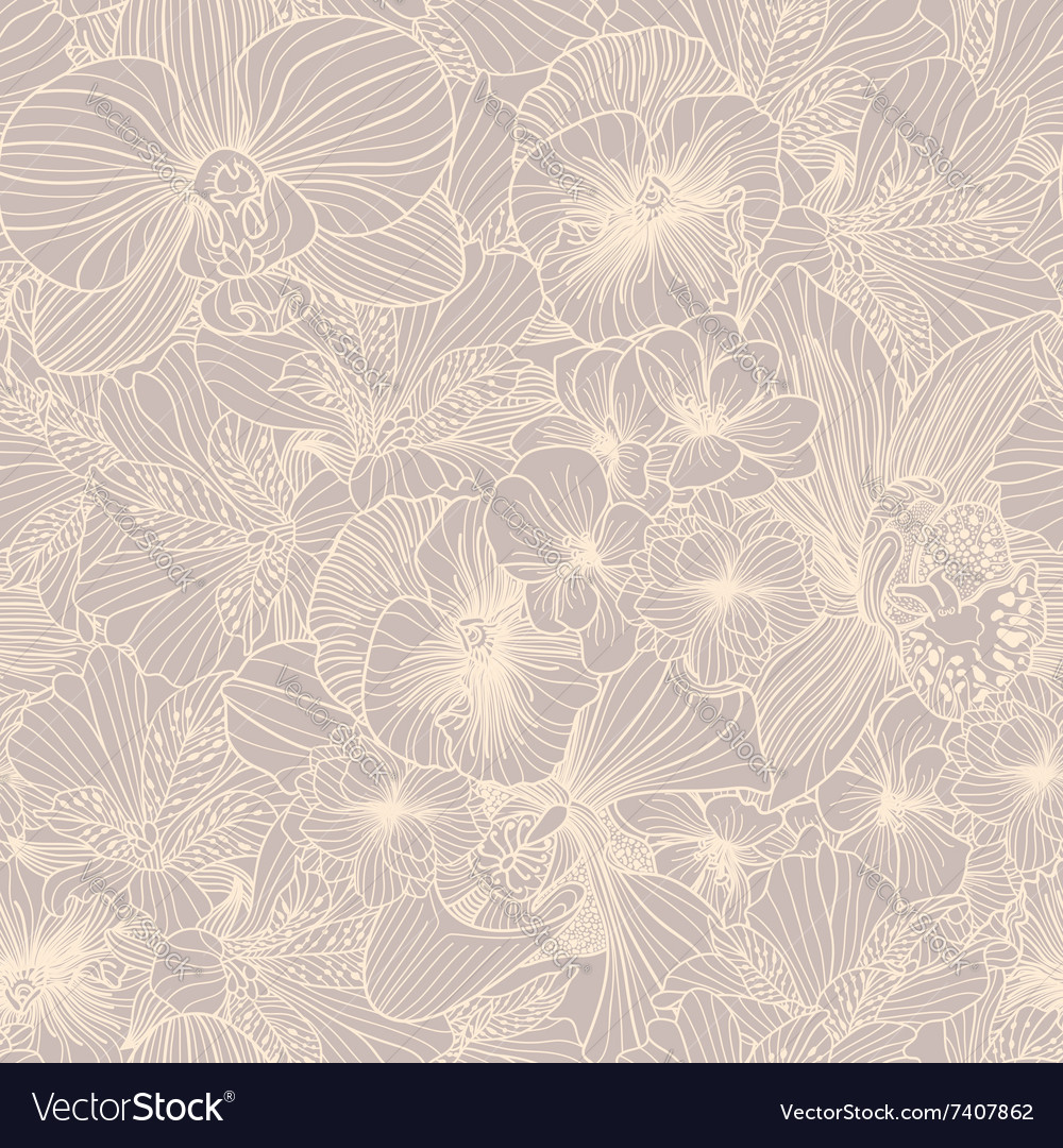 Seamless flower engraving pattern vector