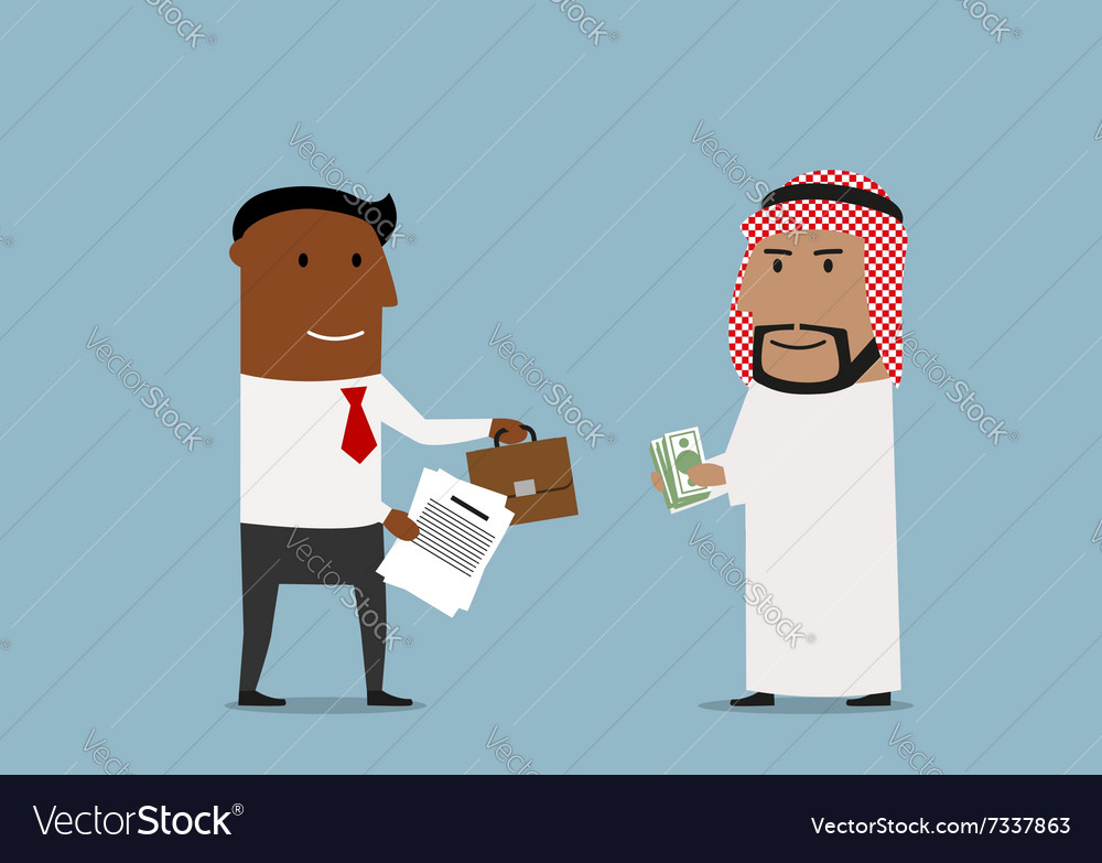 Arabian and american businessmen signing contract vector