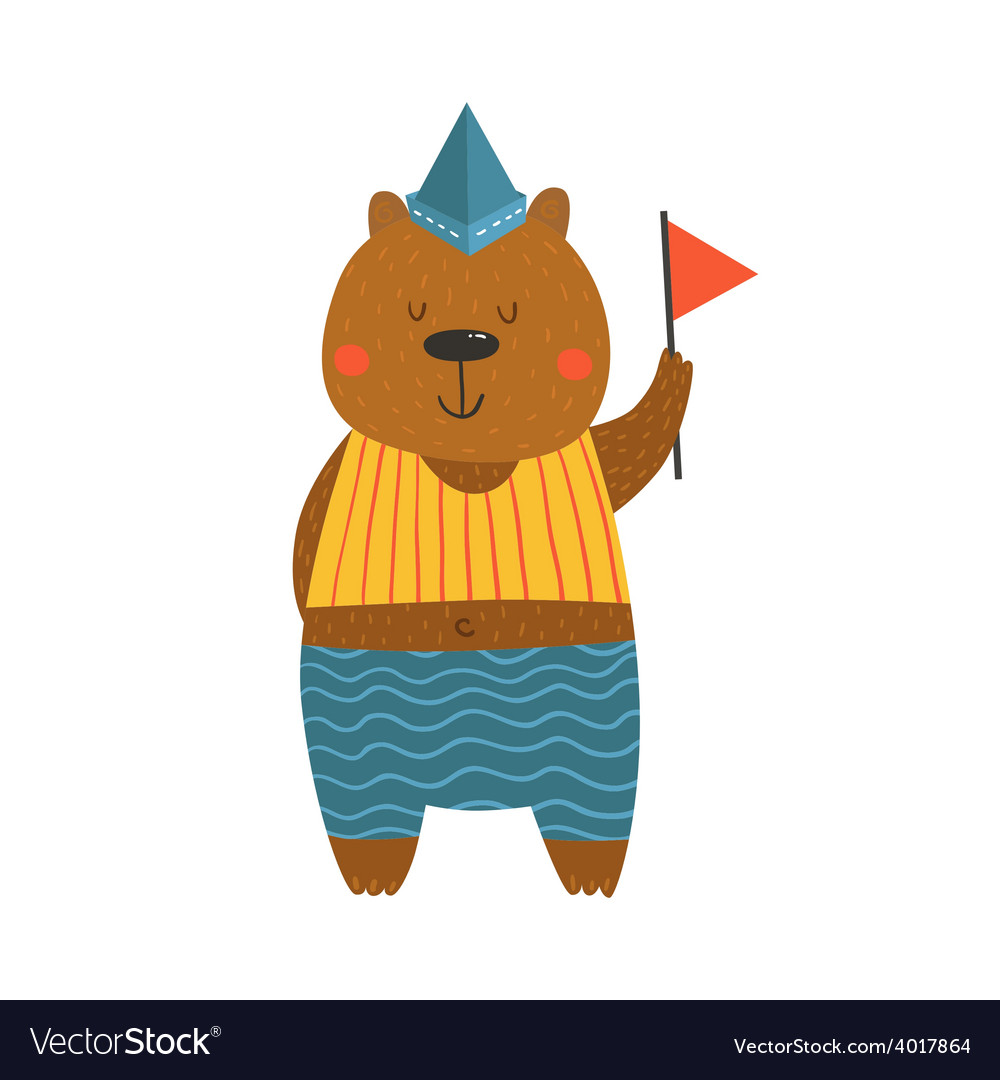 Cute sailor bear with flag vector