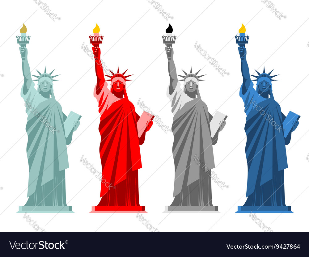 Statue of liberty colorful attraction in america vector