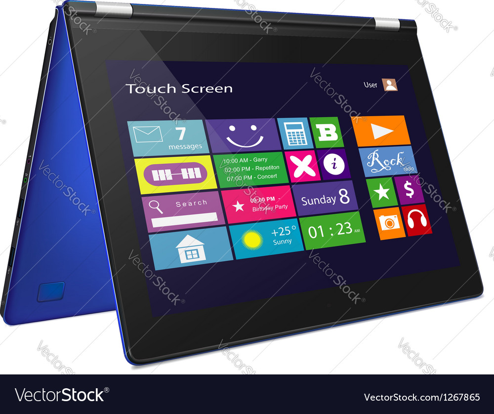 Convertible ultrabook with metro icons on display vector