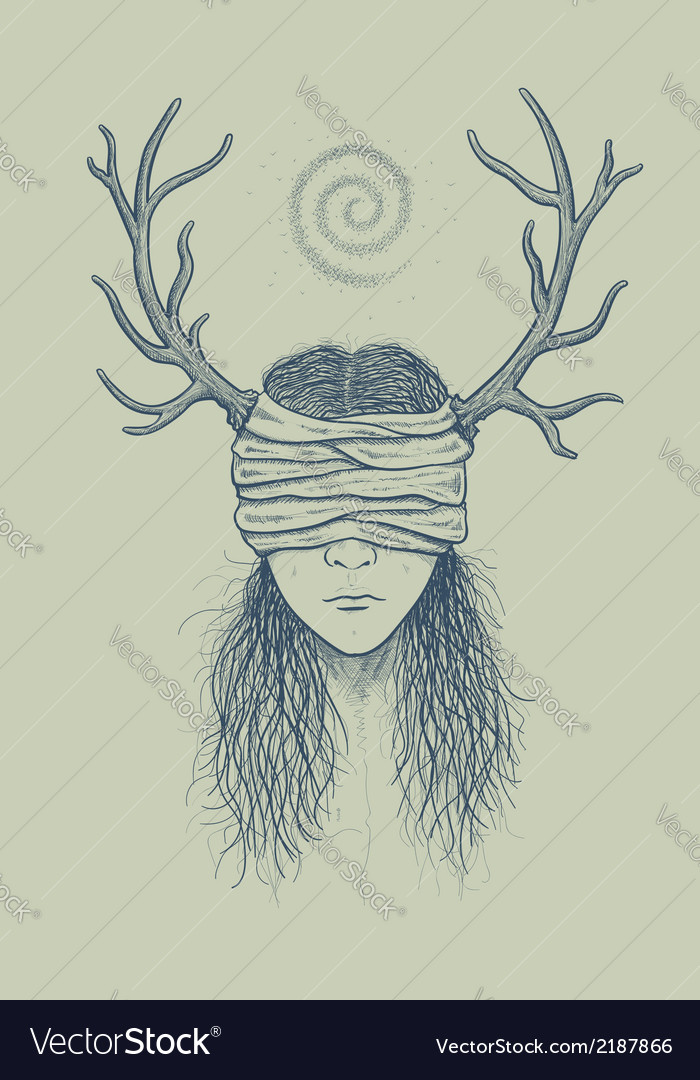 Girl with horns and a blindfold vector