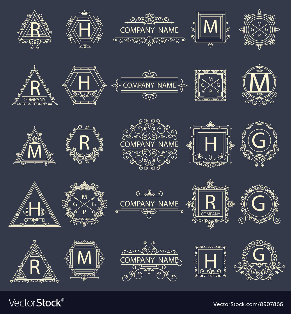 Set monogram company logos business sign vector