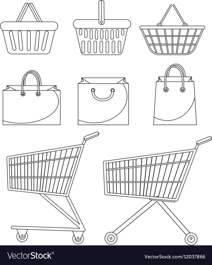 Shopping bag basket trolley cart icon set vector
