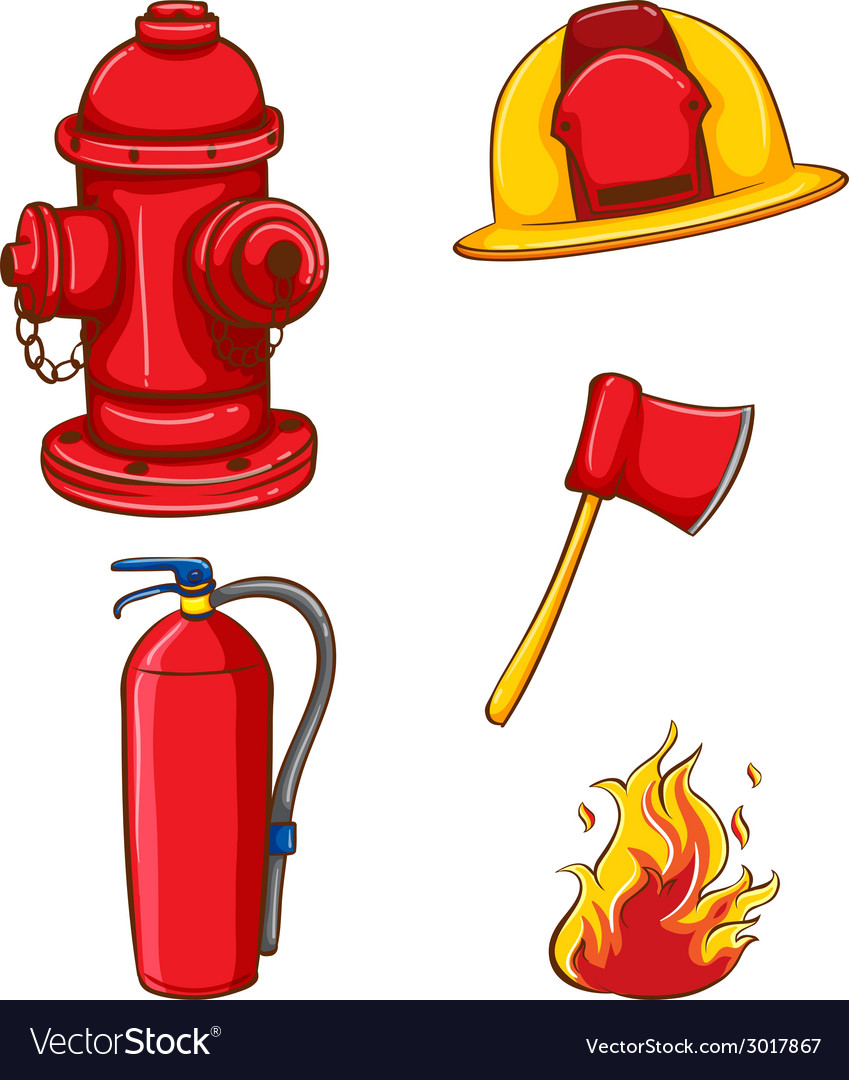 Fireman equipment vector