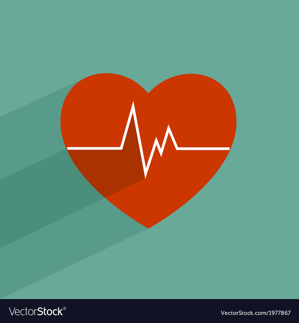Flat long shadow heart beat vector