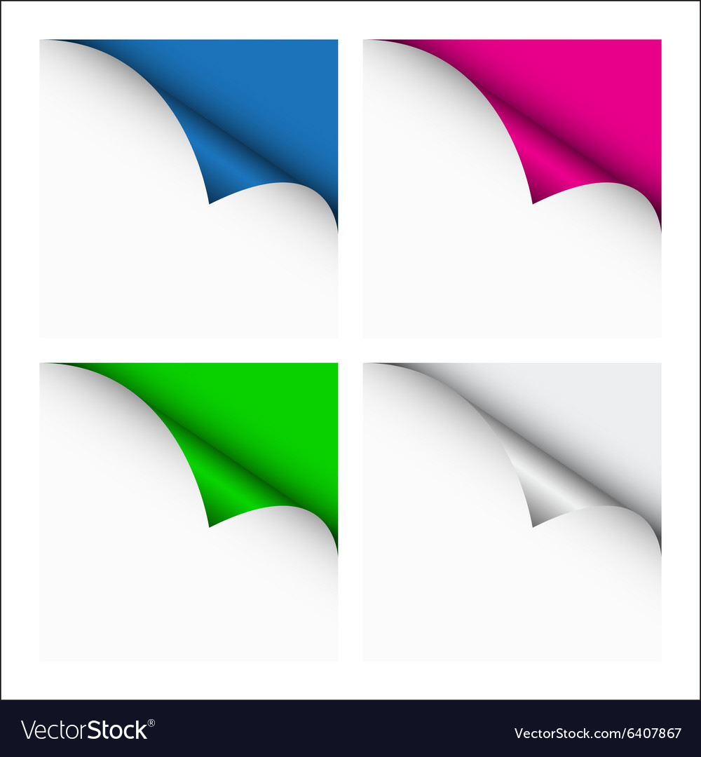 Set of four color curled corners vector