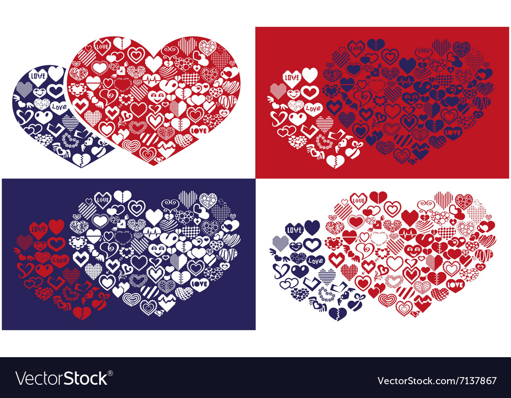 Shape of hearts icons vector