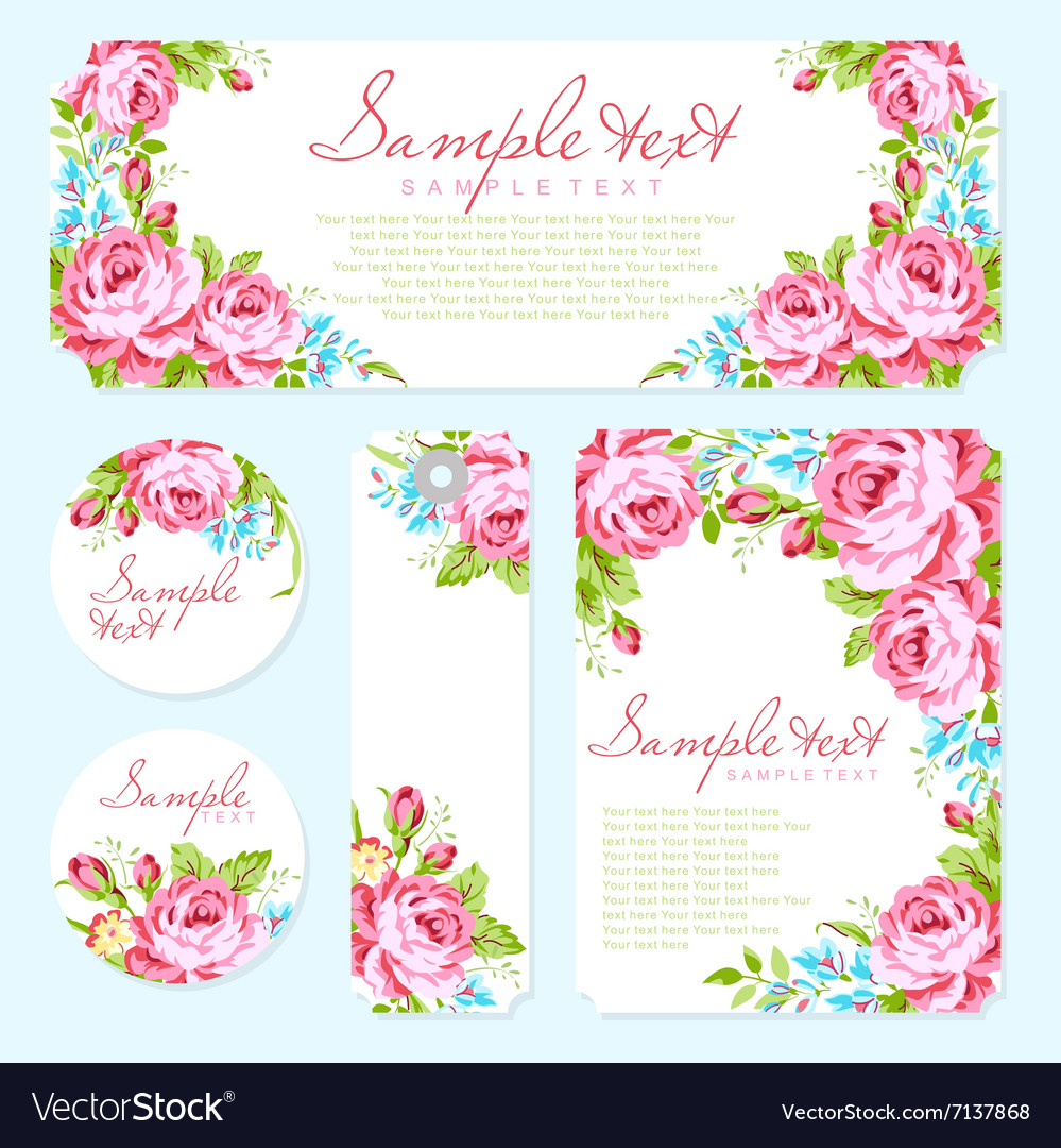 Card template with garden pink roses vector