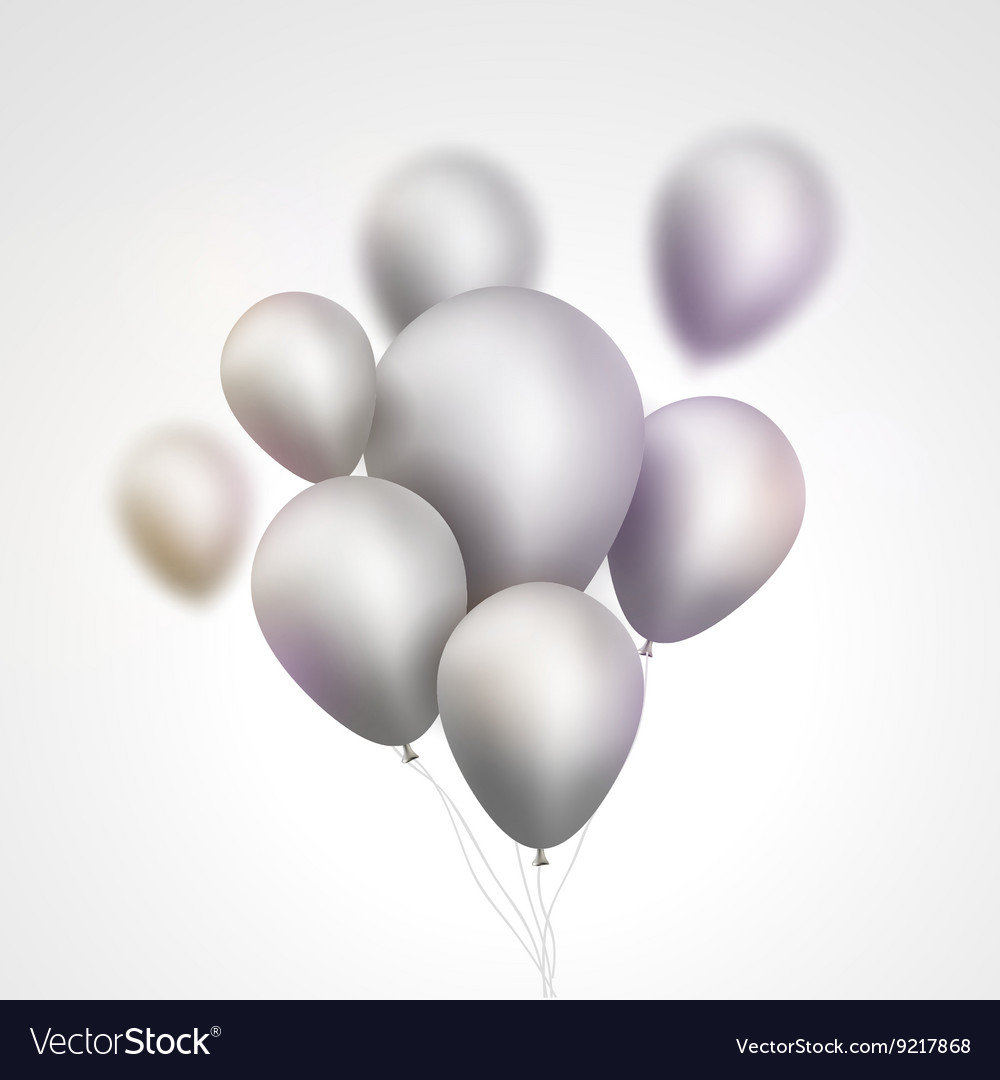 Silver balloons bunch set of festive silver gray vector