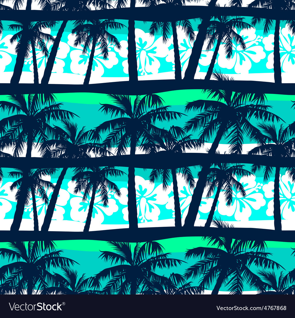 Tropical frangipani with palms seamless pattern vector