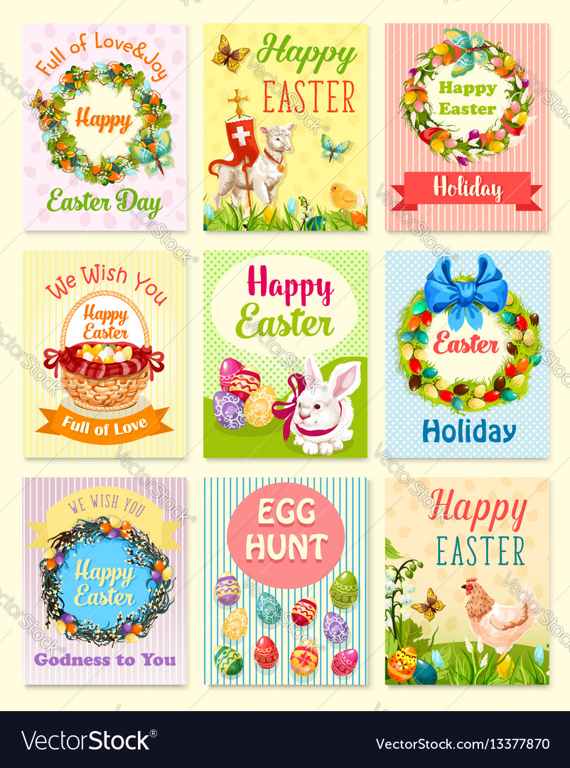Easter egg and rabbit cartoon greeting card set vector
