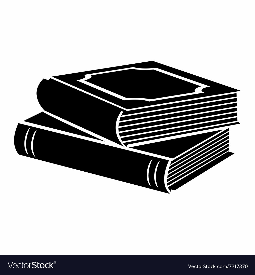 Horizontal stack of two books black simple icon vector