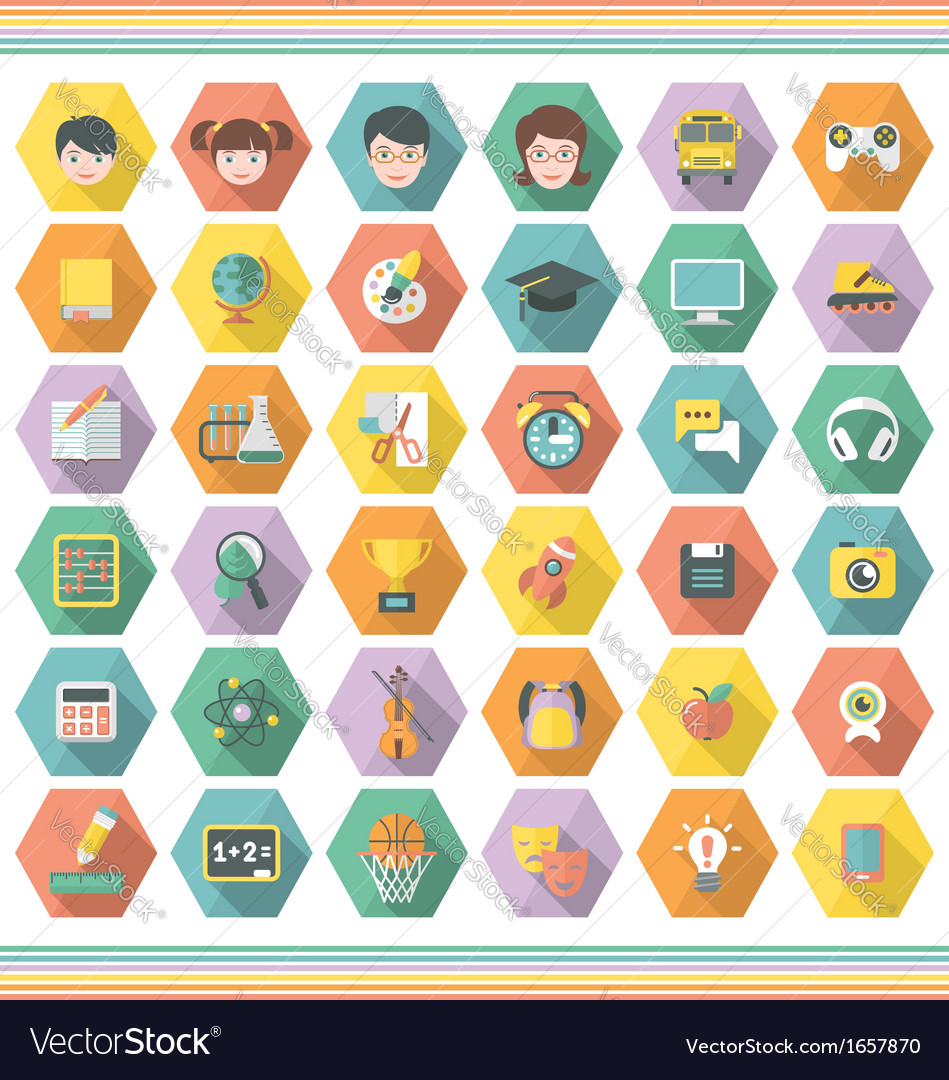Modern flat education and leisure icons in hexagon vector