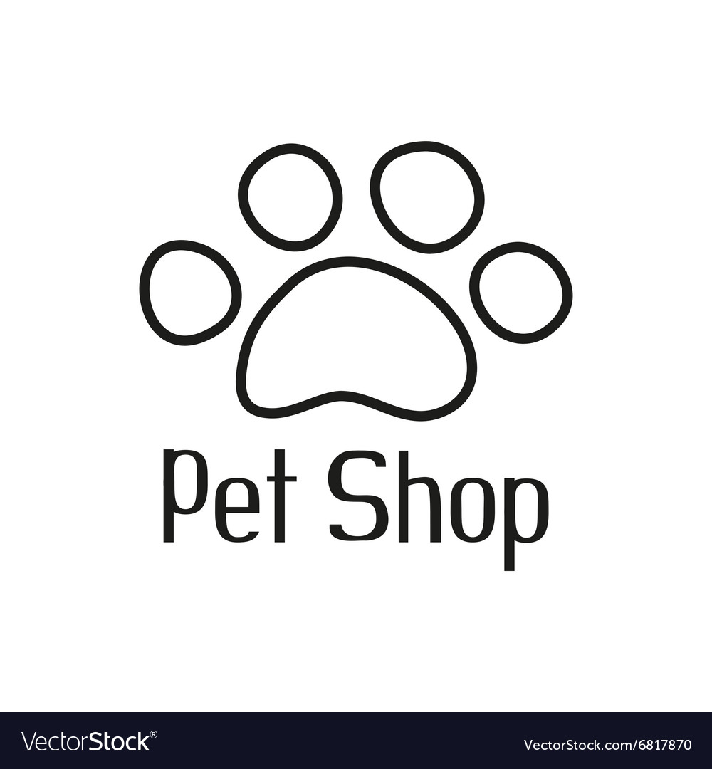 Pet shop logo with pet paw vector
