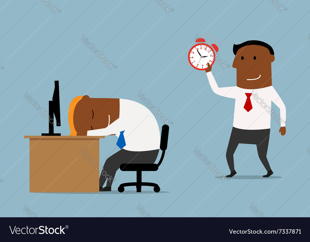 Businessman with alarm clock doing wake up vector