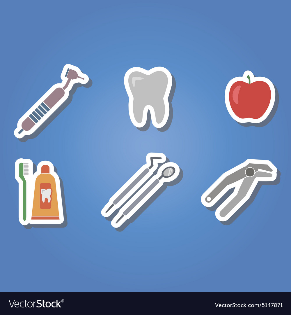 Color icons with dental symbols vector