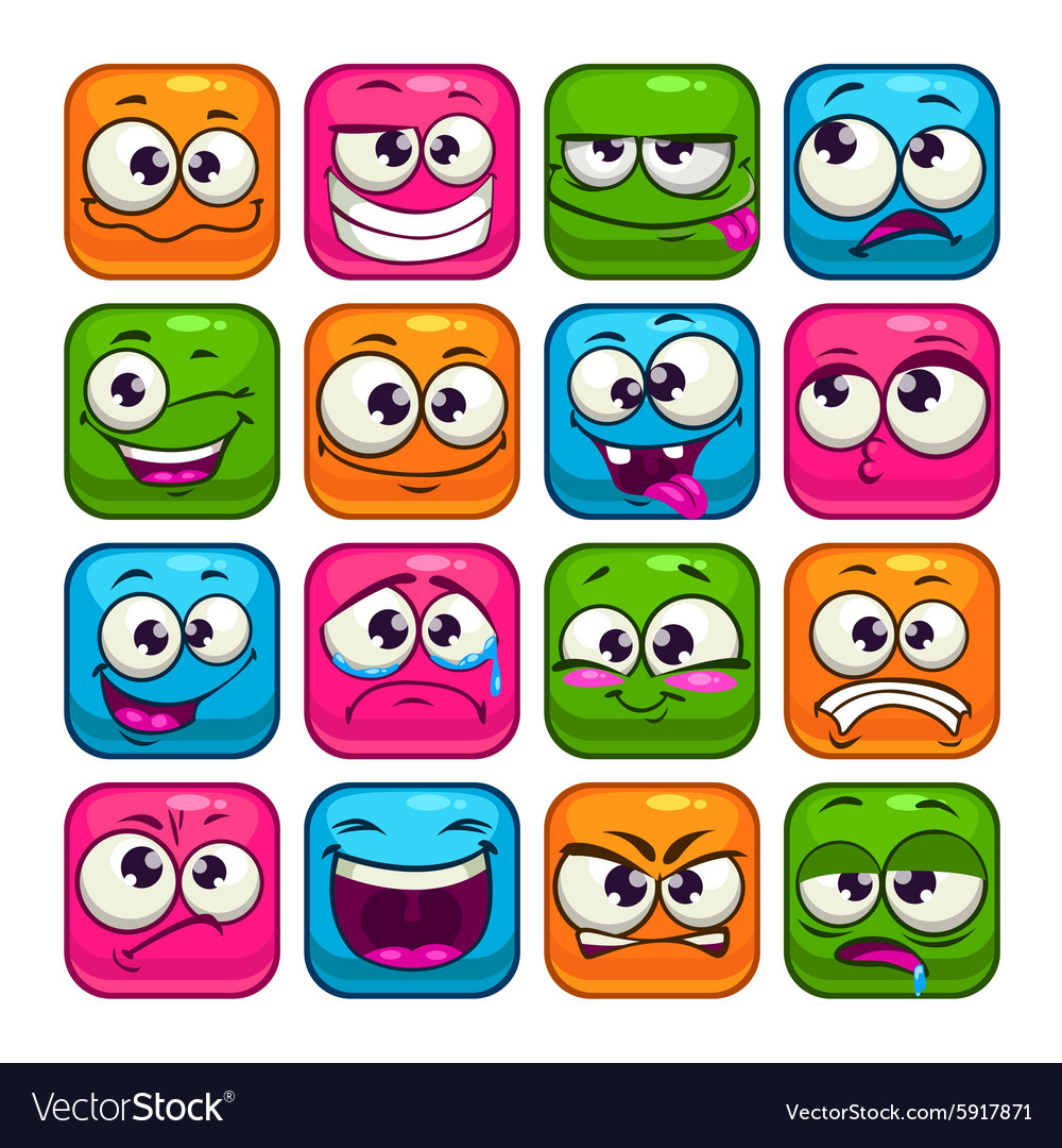 Funny colorful square faces set vector
