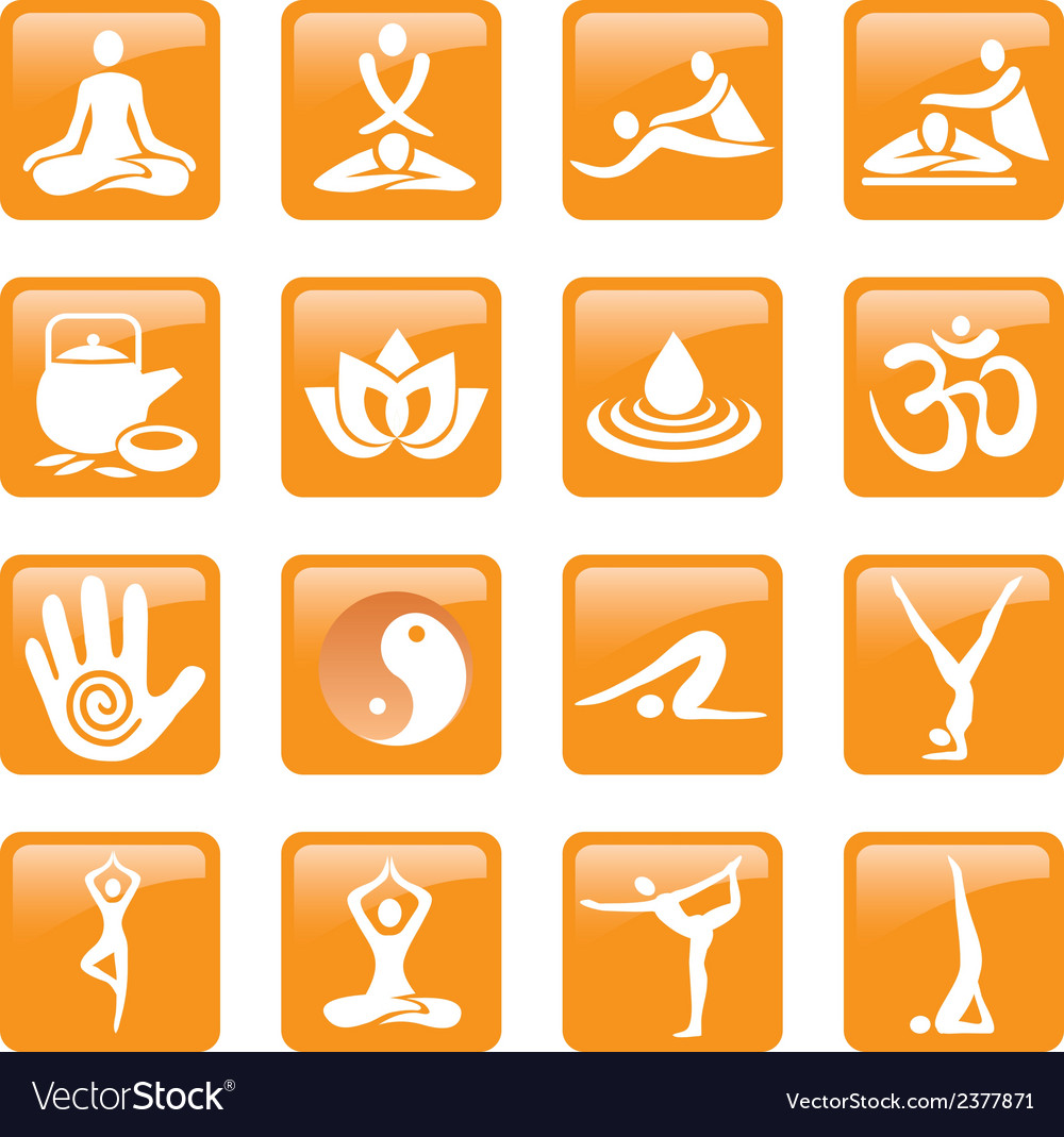 Yoga spa massage buttons icons vector