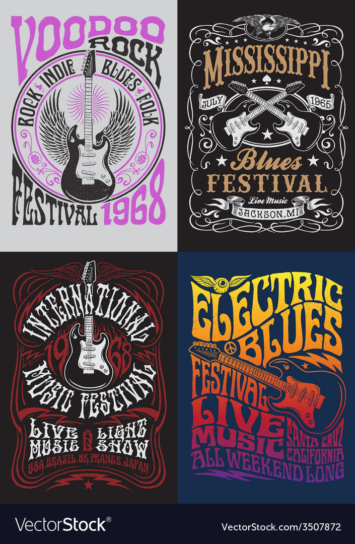 Vintage rock poster tshirt design set vector