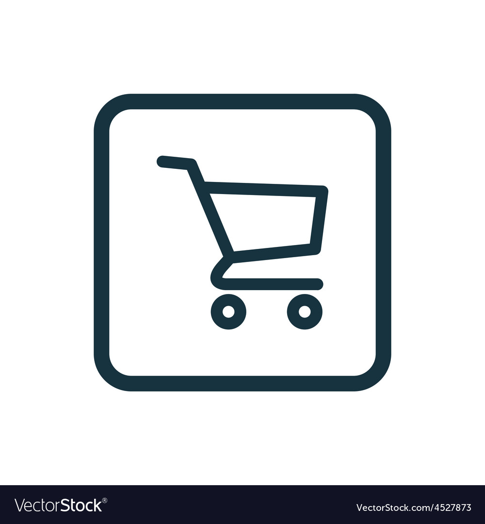 Shopping cart icon rounded squares button vector
