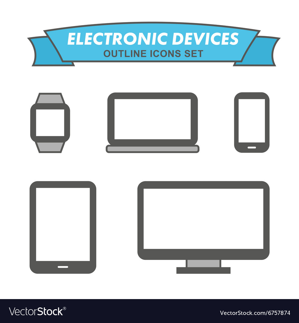 Electronic devices outline icons set vector