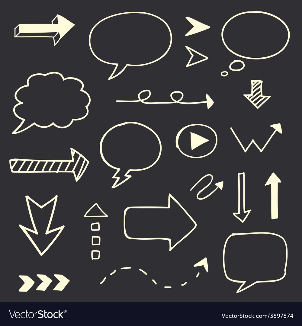Hand drawn arrows speech bubble sketch set vector